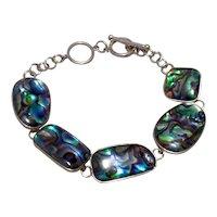 Sterling Abalone Link Bracelet