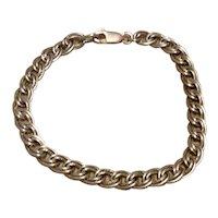 Sterling Fancy & Plain Double Link Charm Bracelet