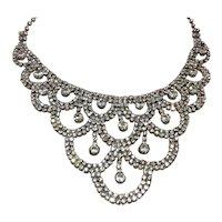 Silver Tone Clear Sparkling Rhinestone Bib Necklace