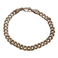 "Sterling Double Link Charm Bracelet 5 3/4"""