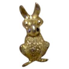 Silver Tone Bunny Lapel Pin