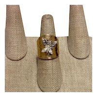18K HGE Rhinestone Butterfly Ring 6 1/2