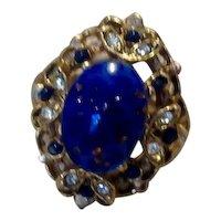 Silver Tone Blue Stone & Rhinestone Adjustable Ring