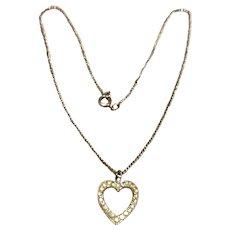 Silver Tone Rhinestone Heart Pendant Necklace