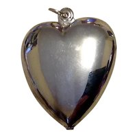 Silver Tone Large Puffy Heart Pendant