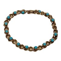 Gold Tone Faux Turquoise  Bracelet