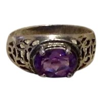 Sterling Synthetic Amethyst Filigree Ring Size 6