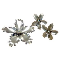Silver Tone AB Crystal Brooch & Earrings
