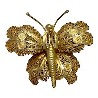 Gold Tone Filigree Butterfly Brooch