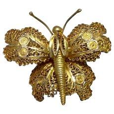 Gold Tone Filigree Butterfly Brooch