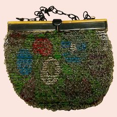 Vintage Handmade Cut Steel Beaded Purse