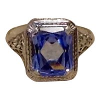 14K  White Gold Synthetic Sapphire Filigree Ring Size 6 1/2