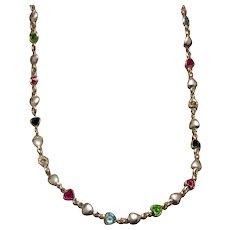Sterling Italian Multi Rhinestone Necklace