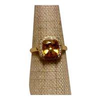 14K White Gold Citrine & Diamond Ring Size 8