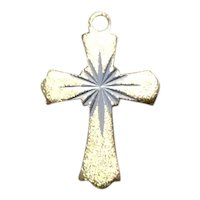 Beaded Gold Tone Cross Pendant