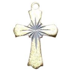 Beaded Gold Tone Cross Pendant