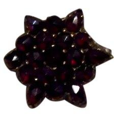 Bohemian Rose Cut Garnet Star Brooch