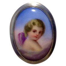 Victorian Silver Tone Hand Painted Cherub Brooch Pendant