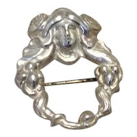 Sterling Art Nouveau Lady Brooch