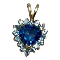 14K Yellow Gold Blue Topaz Heart Shaped Pendant