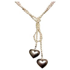 Fresh Water Pearl & Sterling Silver Puffy Heart Sautoir