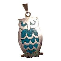 Sterling Enameled Mexico Owl Pendant