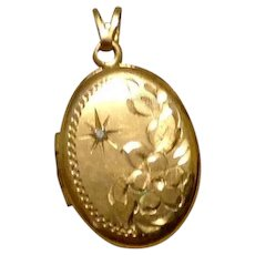 Gold Filled Etched Double Photo Locket
