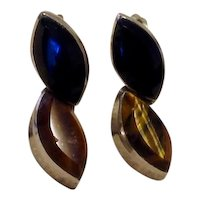 Sterling Amber & Black Onyx Dangle Earrings