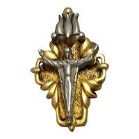 Gold & Silver Tone Catholic Crucifix Pendant