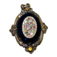 Gold Tone Micro Mosaic Black Onyx Pendant