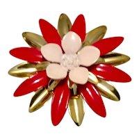 Sarah Coventry Enameled Flower Brooch