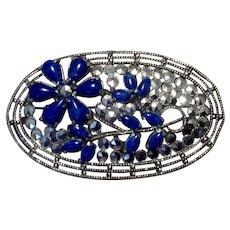 Silver Tone Marcasite & Lapis Blue Stone Brooch