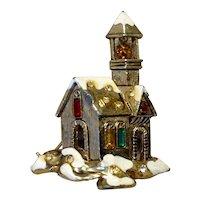 Gold Tone Rhinestone Enameled Church Brooch