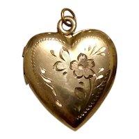 Gold Filled Etched Heart Locket