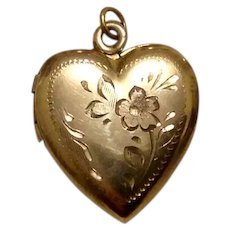 Gold Filled Etched Heart Locket