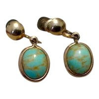 12K Gold Filled Blue Art Glass Earrings