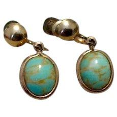 12K Gold Filled Blue Art Glass Earrings