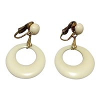 Winard 12K Gold Filled White Lucite Dangle Earrings