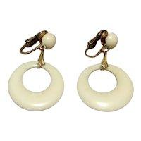 Winard 12K Gold Filled White Lucite Dangle Earrings