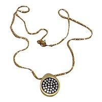 Gold Tone Clear Rhinestone Pendant Necklace