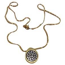 Gold Tone Clear Rhinestone Pendant Necklace