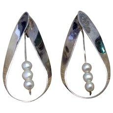 Sterling Seed Pearl Earrings