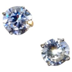 Sterling Silver Sparkling CZ Stud Earrings 5 CT