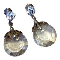Silver Tone Cut Crystal & Rhinestone Dangle Earrings