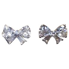 Sterling Silver Clear CZ  Bow Pierced Earrings