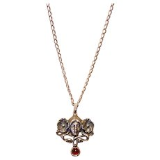 Art Nouveau Sterling & Garnet Pendant Necklace