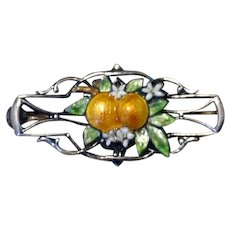 Sterling Enameled Brooch