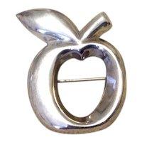 Sterling Silver Apple Brooch