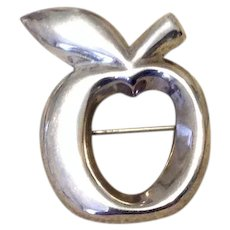 Sterling Silver Apple Brooch