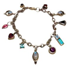 Sterling Gemstone Single Earring Charm Bracelet